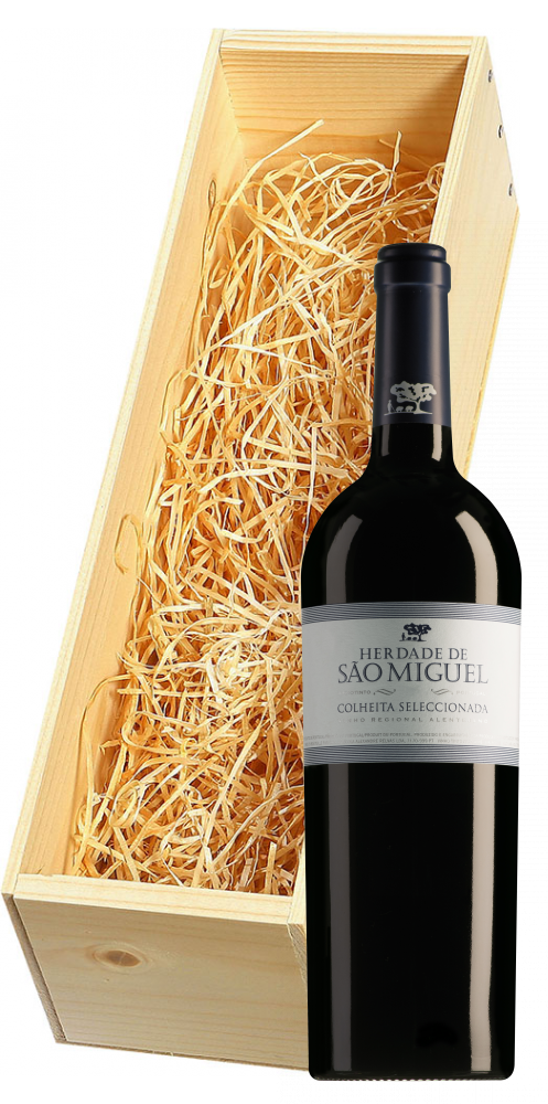 Wijnkist met Herdade de São Miguel Alentejano Colheita Seleccionada Tinto magnum