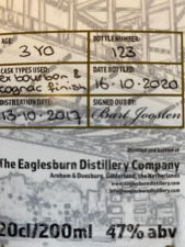 Eaglesburn Distillery Single malt Ex Bourbon & Cognac Finish whisky 2020 47%