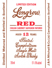 Longrow RED Chilean cabernet Sauvignon Matured 13 Years 51.6%