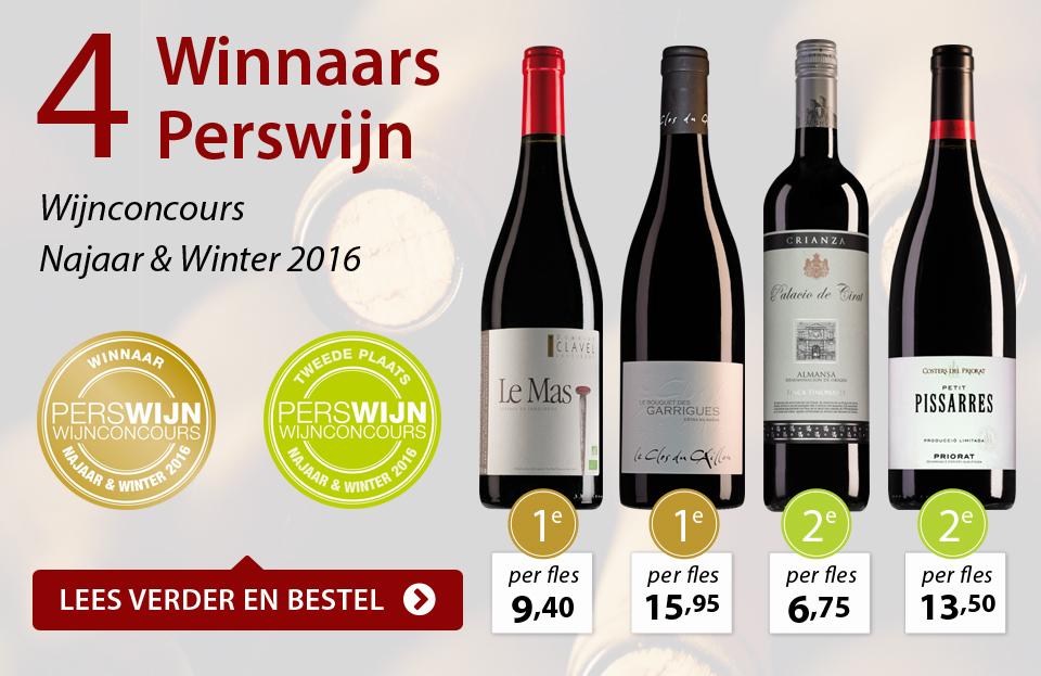 4 x Winnaar Perswijn Wijnconcours - Najaar en Winter 2016 - rood