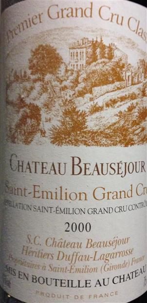 Chateau Beausejour 2000 Grand Cru Classé