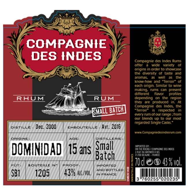 Compagnie Des Indes Rhum Dominidad 15 Ans Small Batch